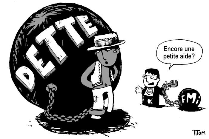 dessin d'un paysan chainé à une énorme dette. on lui propose de l'aide sous forme de poids supplémentaire avec l'inscription FMI
